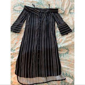 Bardot Effie bw striped shirtdress off shoulder S